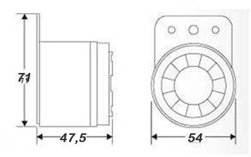 Картинка - размеры звукового оповещателя сирены 110 дБ